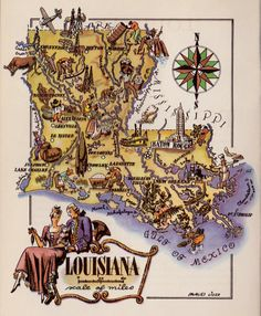 WHIMSICAL LOUISIANA Map of Louisiana Chef Steam by plaindealing