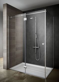 #Teuco #Endless minimalist #shower door for a simple and elegant #bathroom. Love the shower tray and the colour of tiles