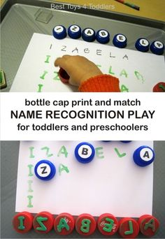 Bottle Cap Print and Match Name Recognition Play for Toddlers and Preschoolers