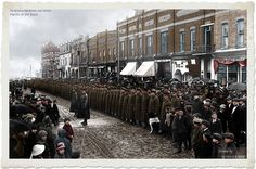 To commemorate the beginning of WWI, here are Canadian soldiers preparing to ship out of Midland. (x-post from /r/Midland_ON) (i.imgur.com) https://www.facebook.com/centenariogg.oficial/