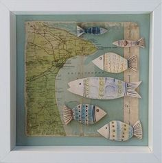 White framed shadow box. Ceramic driftwood and vintage map. 25cm x 25cm. Can be seen at Gallery 49. Sold.