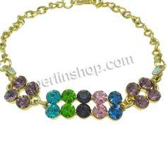 Armband, mit Eisenkette, mit Verlängerungskettchen von 6cm, goldfarben plattiert, Twist oval & mit Strass, frei von Nickel, Bl...