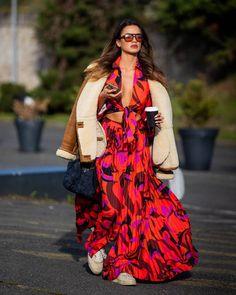 "The Styleograph on Instagram: ""#streetstyle during #pfw | www.thestyleograph.com Photographed by #thestyleograph #christianvierig #streetfashion #womensfashion…"" Christian Vieri, Sheepskin Coat, Wrap Dress, Kimono Top, Bohemian, Street Style, The St, Womens Fashion, Model"