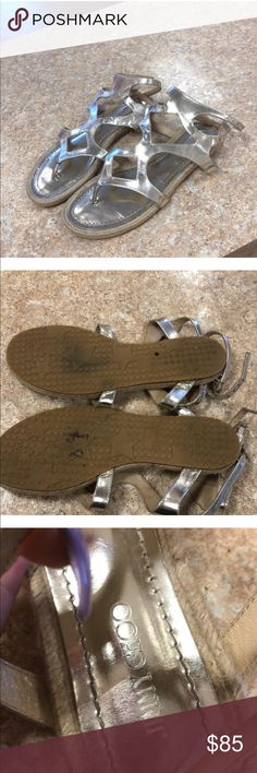Jimmy Choo Gladiator Sandals Gold espadrilles gladiator sandals double buckle with name on it great used condition except for missing one gold name plaque as shown in photo. Make an offer Jimmy Choo Shoes Sandals