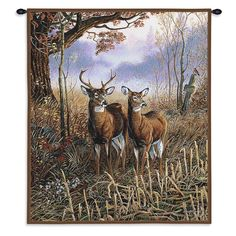 Country Deer Couple Art Tapestry Wall Hanging