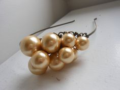 Shop for on Etsy, the place to express your creativity through the buying and selling of handmade and vintage goods. Vintage Headbands, Pearl Headband, Pearl Cream, Art Deco, Pearl Earrings, Bridal, Dark, Creative, Handmade
