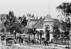 Aqui damos um mergulho ao ano de 1887. Essa foto foi feita em frente da residência e o engenho de erva-mate da família Fontana. A rua era de barro, as conduções eram carroças e o bonde de mulas, inaugurado naquele ano. Esse local seria hoje na Avenida João Gualberto.