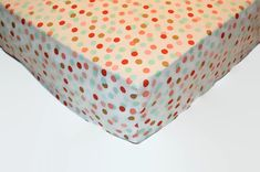Coral and turquoise fitted crib sheet polka by SprinkledWithKisses
