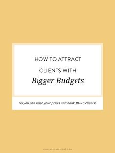 All about how to find the right clients for you. how to attract clients with bigger budgets so you can raise your prices and book MORE clients than ever before! It worked for me and it can work for you.
