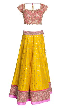 Buy Anushree Reddy's Yellow and Pink Lehenga Set Online - Jiva