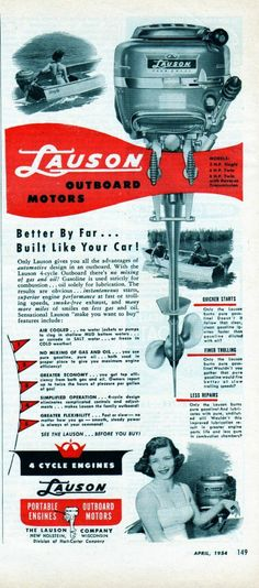 Vintage 1954 Lauson 4 Cycle Engines Outboard Boat Motor Fishing Print Ad | eBay