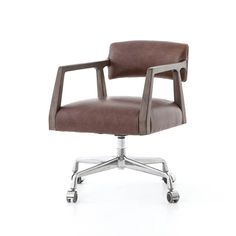 An angular, dark and smoky birch frame holds a deep seat and striking, low-slung back. The Tyler Desk Chair is covered in a beautiful, brown, top-grain leather. Metal casters make for ease of movement through the workplace or home office. Industrial Office Chairs, Home Office Chairs, Home Office Furniture, Office Desk, Office Inspo, Door Furniture, Office Art, Furniture Ideas, Cafe Chairs
