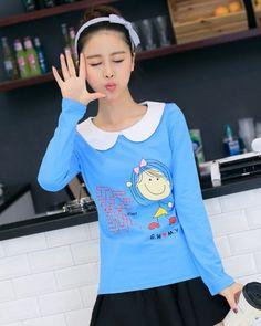 Blue peter pan collar shirt cartoon girl printed plus size tee for girls-