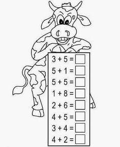 Kindergarten Math Worksheets, School Worksheets, Preschool Math, Math Activities, Preschool Painting, Math Drills, Build Math, Math Addition, First Grade Math