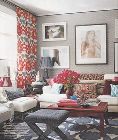Pretty. When I first saw this in Elle Decor, I was in love. I really want to do a room that is red, white, and blue without being to fourth of July