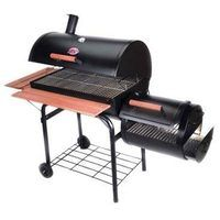 Smoker grill with a side saddle.