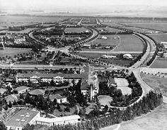 Beverly Hills Hotel, looking south, in 1921. I love this shot because it shows the gracefully curved streets of Beverly Hills.