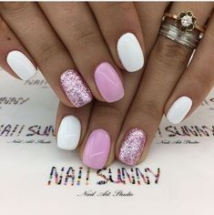 30 trendy glitter nail art design ideas for With glitter nails, brighten u. - 30 trendy glitter nail art design ideas for With glitter nails, brighten up your summer looks - Fancy Nails, My Nails, Pink Shellac Nails, Nail Polish, Glitter Nail Art, White Nails With Glitter, White Summer Nails, Pink White Nails, Pink Sparkle Nails