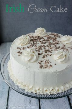 Irish Cream Cake #recipe - The moist chocolate cake and flavorful real whipped cream frosting are so light, you'll have a hard time saying no to a second piece of this Best Irish Cream Cake! And of course, it includes real Bailey's Irish Cream, which gives the cake its perfect flavor. It's the perfect #dessert for St Patrick's Day!