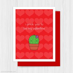 Funny Valentine Card Valentines Day Love Pun Handmade Greeting Cards by Sunny Dove Studio #handmade #cards #greetingcards #cute #kawaii #cactus #fun #funny #valentine #valentines #valentinesday #valentinesgift #love #etsy