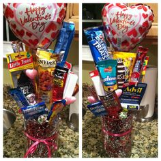 I made this last year for my boyfriend for valentines day! Personalize it with things he loves. A man bouquet <3