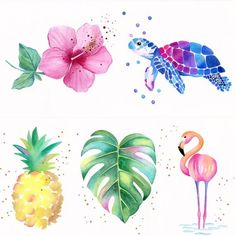 Tropical / Hawaiian Nursery Watercolors (Set of 3) - Original Art - Pineapple - Sea Turtle - Hibiscu