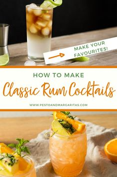 You don't need to take cocktail making classes to make some of the classic rum cocktails! These simple and tasty drinks have been around for a long time for a good reason - they are easy to make always taste great. Check out these rum cocktail recipes i Dark Rum Cocktails, Classic Cocktails, Fun Cocktails, Cocktail Drinks, Cocktail Recipes For A Crowd, Food For A Crowd, Pesto, Mojito, Margaritas