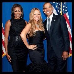The President and First Lady with Mariah Carey Presidents Wives, Black Presidents, American Presidents, First Black President, Mr President, Mariah Carey Pictures, Barack Obama Family, American First Ladies, Barack And Michelle