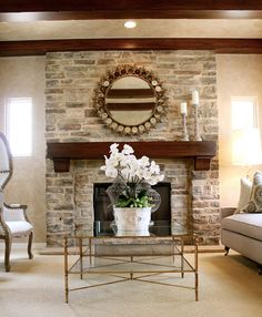 A California family room with classic design. Some ideas of dark wood and light other thingys working well together Home Upgrades, Paint Fireplace, Fireplace Ideas, Family Room, Living Room Decor, Furniture, Design, Dark Wood, Home Decor
