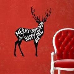 Renna Merry Christmas And Happy New Year Wall Sticker Adesivo da Muro