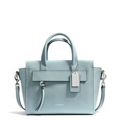 "The Bleecker Mini Riley Carryall In Saffiano Leather from Coach....love the ""Duck egg blue""  for spring"