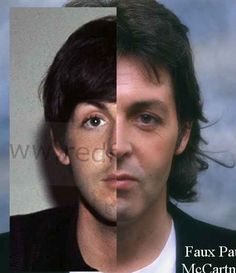 """Answer me this... If there is only one Paul McCartney then why do the features of Paul on the left and """"Paul"""" on the right not match up??!! A persons face does not change that drastically to the point where their eyes and ears no longer line up!!!"""