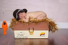 newborn boy photography prop little fisherman hat and orange fish on Etsy, $35.00