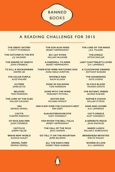 Banned books reading challenge - It was written for but better late than never, right? Books And Tea, Book Club Books, I Love Books, Good Books, Books To Read, My Books, Book List Must Read, Book Challenge, Reading Challenge