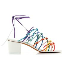 Chloé Knotted Sandals ($610) ❤ liked on Polyvore featuring shoes, sandals, tie sandals, mid-heel sandals, colorful sandals, mid heel shoes and mid heel sandals