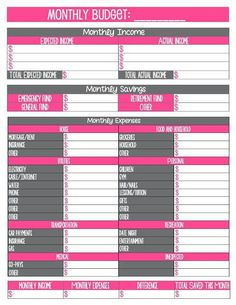 FinancialBudget Planner Printables  Financial Budget Planners