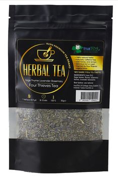 Specially developed herbal tea blend inspired by   the legendary 'Four Thieves' story.  It is a mix of four herb leaves:   SAGE, THYME, LAVENDER and ROSEMARY.   Drink it HOT or COLD as ICE TEA!  Just add HONEY and LEMON for perfect refreshing taste, enjoy it after busy, stresfull day. Four Thieves, Thyme Tea, Premium Tea, Healthy Herbs, Tea Blends, All Family, Natural Herbs, Herbal Tea, Iced Tea