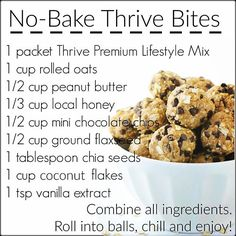 THRIVE Premium Lifestyle Mix comes in a variety of flavors, so you can make your THRIVE shake any way you want to. Learn more about THRIVE Mix. Protein Bites, Protein Ball, Energy Bites, Protein Energy, Protein Shakes, Thrive Diet, Thrive Le Vel, Thrive Food, Thrive Meals