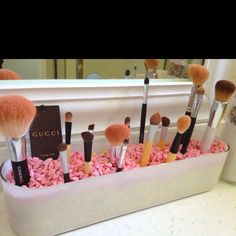 Make up brush holder - planter and colorful rocks