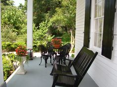 One of six wonderful Southern porches at Breeden Inn.   www.breedeninn.com