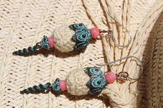 Patina Green Spike Earrings - Patina Green Spiral Spikes Ornate Caps - Pink Coral Beads - 2 3/4 Inches In Length