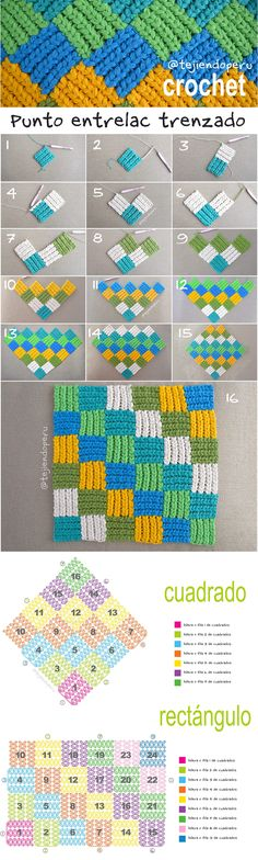 Discover thousands of images about Crocheted Puff Braid Entrelac Blanket Free Pattern Video - Crochet Block Blanket Free Patterns Mode Crochet, Crochet Blocks, Crochet Diagram, Tunisian Crochet, Crochet Chart, Crochet Squares, Crochet Motif, Crochet Stitches Patterns, Knitting Patterns