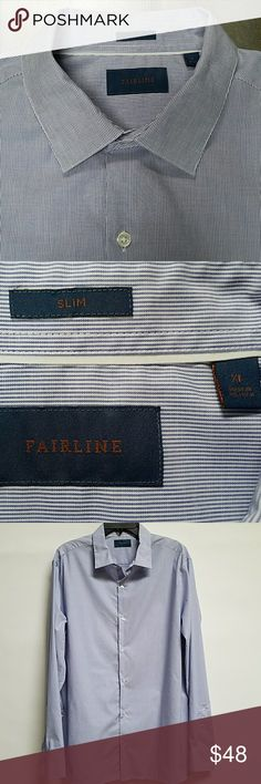 Stitch Fix Fairline Men's Shirt Slim XL Blue and White micro pinstripe, worn once, excellent condition! Collar stays included, comes with extra buttons Stitch Fix Fairline Shirts