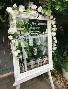 White Mirror Table Plan - The Perfect Wedding Shop Wedding Entrance Table, Wedding Top Table, Wedding Mirror, Seating Plan Wedding, Wedding Table Plans, Seating Plans, Order Of The Day Wedding, Welcome To Our Wedding, Wedding Day