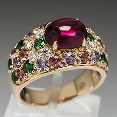 Van Cleef Amp Arpels Sapphire Diamond Emerald Ring Jewelry