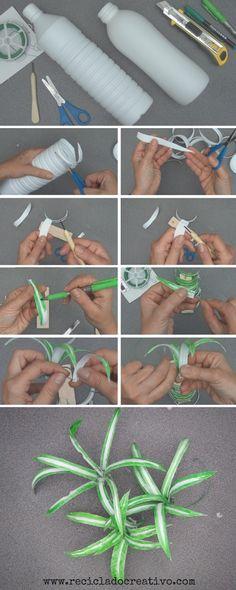 Paso a paso para realizar Plantas de cintas o malamadre con botellas de plástico Reciclado Creativo Plastic Bottle Crafts, Plastic Art, Plastic Flowers, Recycle Plastic Bottles, Faux Flowers, Recycled Bottles, Recycled Crafts, Easy Crafts, Diy And Crafts