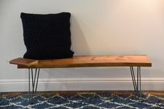 Retro Live Edge Bench slab wood solid modern reclaimed live edge furniture rustic log natural edge recycled repurposed coffee table