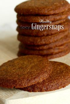 Healthy gingersnaps made with real ginger, whole wheat flour, and coonut oil. Only 43 calories per cookie! Baking Recipes, Cookie Recipes, Dessert Recipes, Desserts, Protein Recipes, Protein Foods, High Protein, Snack Recipes, Biscuit Cookies