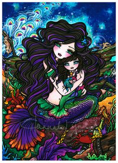 ACEO Mermaid Mother Daughter Baby Underwater Fantasy Art Card ATC Limited Edition. $10.00, via Etsy.