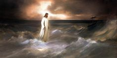 """""""And immediately Jesus stretched forth his hand, and caught him, and said unto him, O thou of little faith, wherefore didst thou doubt?"""" Matthew 14:31  """"Walking on Water"""" by Brent Borup"""